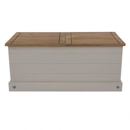 Premium Corona Grey Wash Sliding Top Storage Trunk